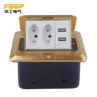 Buy cheap wholesale Brazil brass golden Pop Up Floor Outlet , CE Pass Rj45 Floor Socket from wholesalers