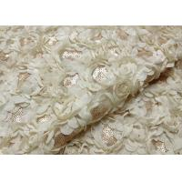 Quality Romantic Champagne Rosette Sequin Lace Fabric , Nylon Bridal Mesh Fabric wholesale