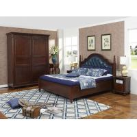Cheap Rubber Wood made bedroom furniture Cheap malaysia imported Solid wood bed high quality PU leather Headboard Upholstured for sale