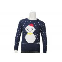 Quality Custom Womens Ugly Christmas Sweater Acrylic Jacquard Knitted Navy Colour O Neck wholesale