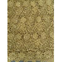 Quality Yellow Chemical Lace Fabric Indian Cotton , fashion Soft Lace wholesale