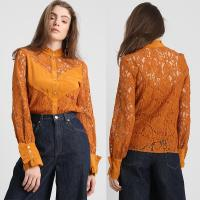 Quality 2019 Fall Apparel for Women New Arrival Lace Brown Long Sleeve Blouse Tops wholesale