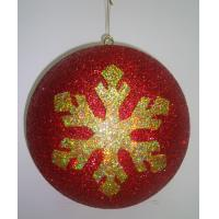 Quality Red Personalised Christmas Decoration Hanging Balls with Golden Snowflake Design wholesale