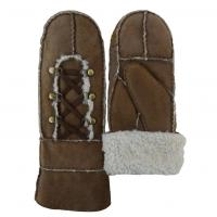 Cheap Wholesale mitten gloves sheepskin leather gloves with metal button for sale