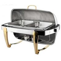 Quality Titanium Coating Oblong Chafing Dish Roll Top Lid Gold Legs and Handle 2-Compartment Stainless Steel Food Container wholesale