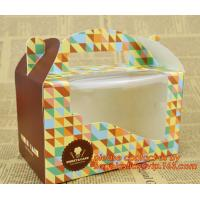 China Custom cheap wholesale food grade paper cardboard cake box with handle on sale