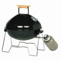 Quality Apple Style Portable Gas BBQ Grill with Wooden Handle and Steel Burner Plate Table Top Gas Grill wholesale