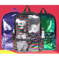 China New arriveal small MOQ sequin fabric backpack glitter backpack girl's school bag 3 colors available in stock on sale