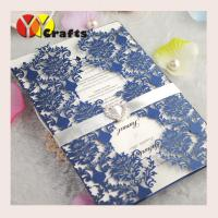 Quality Elegant handmade various colors laser cutting lace wedidng invitation card design with ribbon and buckle wholesale