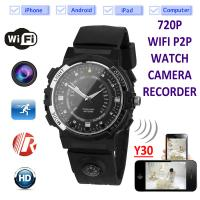 Quality Y30 8GB 720P WIFI P2P IP Spy Watch Hidden Camera Recorder IR Night Vision Motion Detection Remote Video Monitoring wholesale