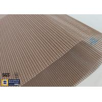 Quality Brown PTFE Coated Fiberglass Mesh Fabric 580G 4x4MM High Strength Conveyor Belt wholesale