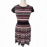 Quality Ladies' dress, composition of 55% linen and 45% cotton, multi-colored stripes wholesale