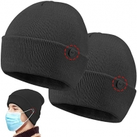 China Newly design custom button for easy to wear masks knit beanie on sale