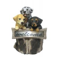 Quality Hand Cast 3 Puppies Welcome Garden Solar Light for Backyard OEM Acceptable wholesale