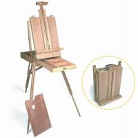 Quality Wooden Painting Easel Art Stand , French Sketch Box Easel With Palette Belt Aluminium Tray wholesale