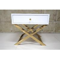 Quality White Painted Gold Hotel Bedside Tables With Polished Metal Base , 60% Sheen wholesale