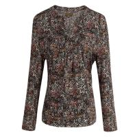 Quality Custom developed Proviscose Pleats Ladies Abstract Printed Blouses / Tops wholesale