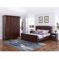 Quality Rubber Wood Furniture Thailand solid wood King/Queen Bed in Leisure American style with Nightstand and Wardrobe wholesale
