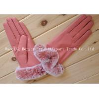 China Classic pink Adorable Party Wear Fur ladies'  Leather Gloves on sale