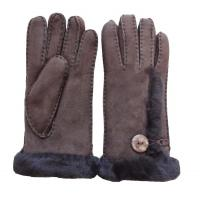 China Women soft fashion double face fur lined leather gloves ladies lamb fur gloves with button on sale