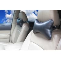 Quality hot sell dog bone shape PU leather black color car truck neck pillow wholesale