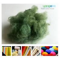 Quality 1.5D * 38MM Green Color Polyester Fiber , PSF Polyester Staple Fiber For Yarn wholesale