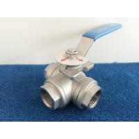 China L Port Stainless steel Three Way Ball Valve 1/4 Inch - 2 Inch  Screwed end on sale