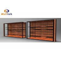 China Stainless Steel Spice Wood Display Rack Wall Mounted Wood Shelving Units For Shops on sale
