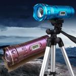 Quality 9 Files Yellow&Blue&White 5W Led Rotating Zoom Night Fishing Light Digital Led Display wholesale