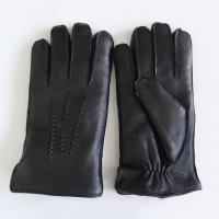 China Winter Thicken Sheep Wool Lined Gloves Ladies Lined Leather Gloves Black Color on sale