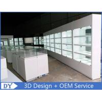 Quality Fashion Jewelry Store Display Cases With Tempered Glass Shinning White wholesale