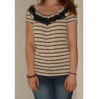 Quality Fashion Ladies / Womens Knit Short Sleeve Tops With Black And White Stripe wholesale