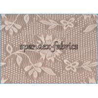Quality Ivory Floral Lace Power Mesh Fabric for Dress , Nylon Spandex Net Fabric wholesale