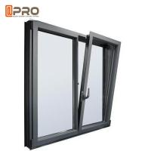 Cheap Wood Grain Casement Glass Tilt N Turn Windows Double Glazed Aluminum Profile for sale
