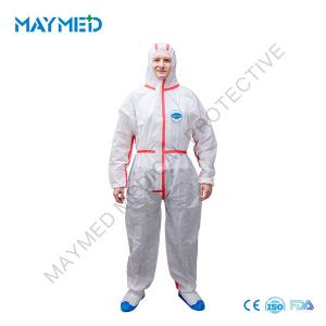 China Heat Sealed Tapes SMS Disposable 55g Nonwoven Coverall Suit on sale