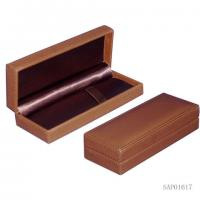 Quality Brown pen Gift Box  , Fountain Pen Leather Case Plastic Mould Top Sewing wholesale