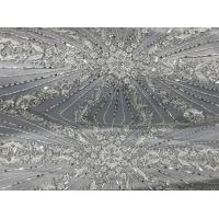 Quality Beautiful Silver Embroidered Heavy Beaded Lace Fabric , Beaded Net Fabric 130cm Width wholesale
