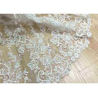 Quality Delicate Ivory Corded Lace Fabric , Floral White Embroidered Tulle Fabric For Wedding Dress wholesale