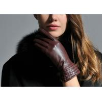 Quality Brown Women Warm Winter Genuine Leather Gloves With Leather Silk Cuff Elastic Wrist wholesale