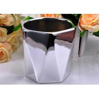 Quality Electroplating Finish Color Hexagon Ceramic Candle Holder / Jar Environmental friendly wholesale