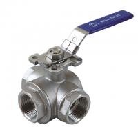"""Quality 1/2 to 2 inch Stainless Steel 304 316 flow Control """"T"""" """"L""""  3  way diverter ball valve with mounting pad wholesale"""