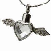 China Gold-plated Pet Cremation Jewelry Winged Cross Pendant/Urns Pendant on sale
