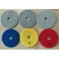 Quality White Type 3 Steps 4 Inch Wet Diamond Floor Polishing Pads For Stone / Marble wholesale