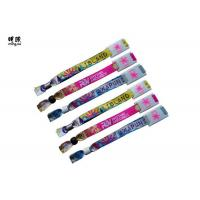 Quality Woven Logo Polyester Custom Wrist Bracelets For A Cause Plastic Clip Attached wholesale