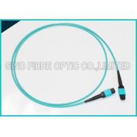 Cheap 100Gbps 24F MPO Fiber Optic Cable Multimode OM3 Trunk Polarity B Aqua Patch for sale