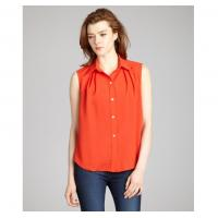 Quality Fashionable Ladies Tops And Blouses Coral Crepe Sleeveless With Point Collar wholesale