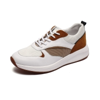 China White Brown Lace Up Euro 39size Mens Leather Sneakers Anti Skid on sale