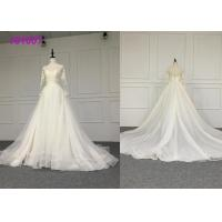 Quality Crystal A Line Ball Gown Wedding Dress / Tulle Long Sleeve Ball Gown Wedding Dress wholesale