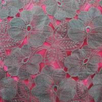 Quality Lace Fabric, Grey Polyester Threads Embroideries on Grey Organza wholesale