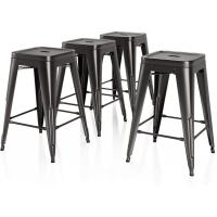 China 26 Inches Height Bar Stools Industrial Kitchen Stools Backless Black Metal Stackable Side on sale